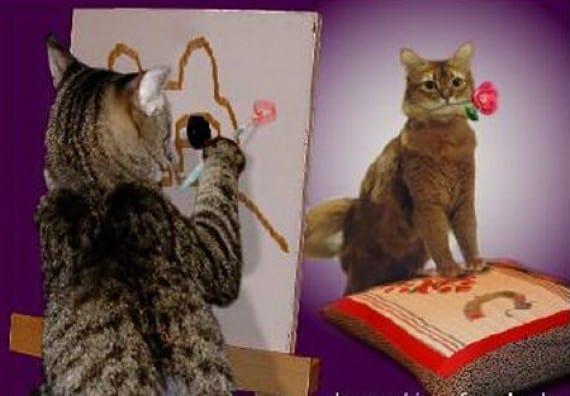 gatos pintores