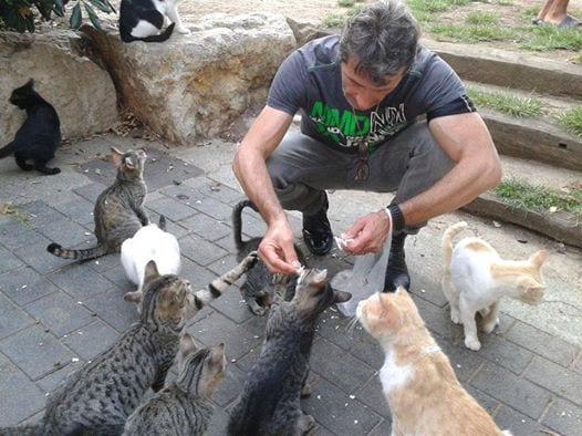 José Luis con sus gatos