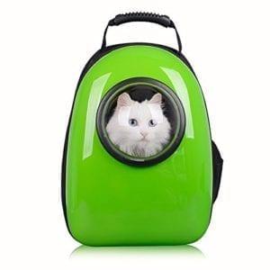 Mochila cápsula para gatos de color verde